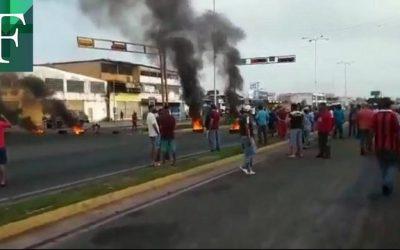 Protestas en San Félix por falta de combustible en las estaciones de servicio