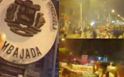 Marcha xenófoba atacó con piedras Embajada de Venezuela en Perú