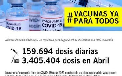 Amnistía Internacional: Se deben aplicar 159.694 dosis diarias para inmunizar a 70% de la población venezolana