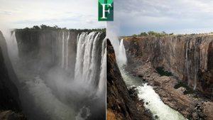 El extraordinario día en que se secaron las enormes cataratas Victoria