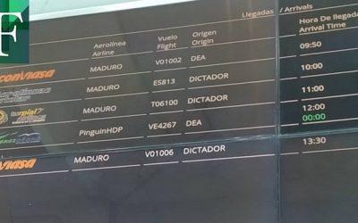 """Hackearon las pantallas del aeropuerto de Maiquetía con """"Maduro dictador"""""""